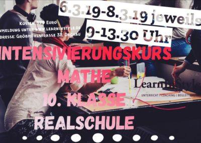 Intensivierungskurs Mathe 10. Klasse Realschule