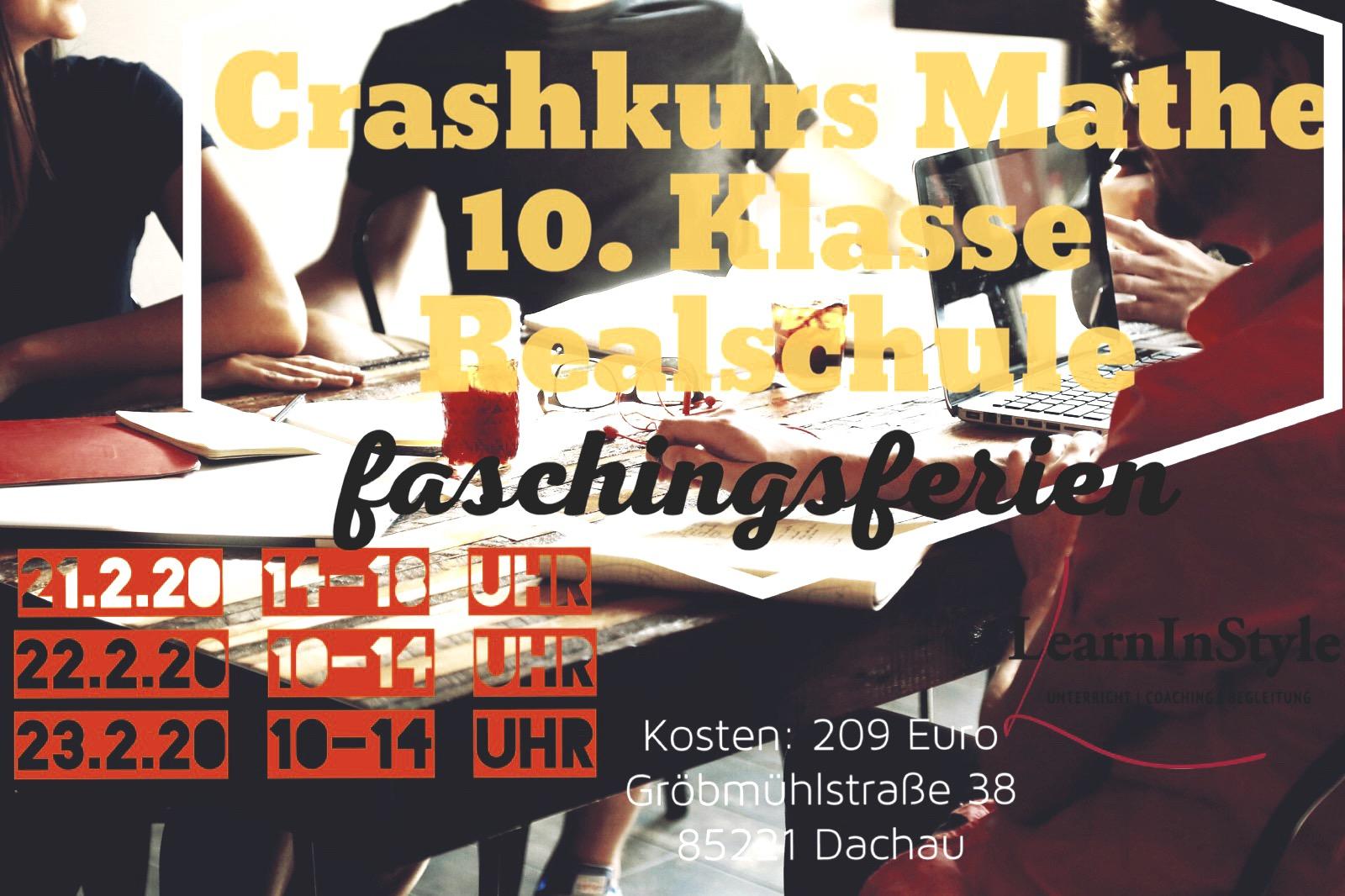 Crashkurs Mathe Faschingsferien – Realschule 10.Klasse