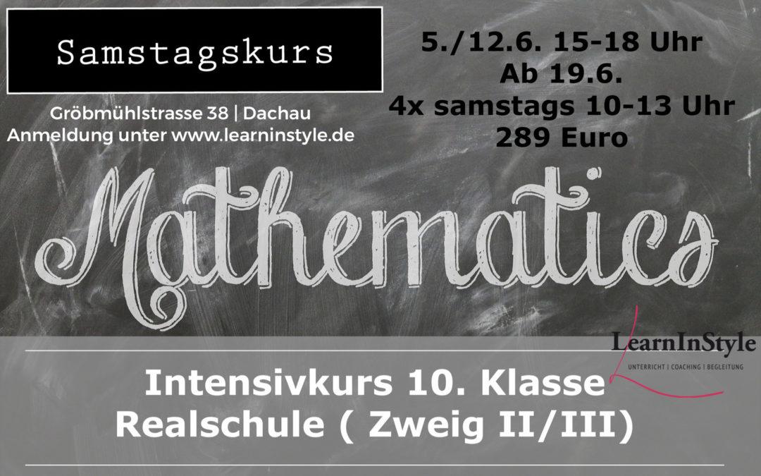 Intensivkurs Mathe 10. Klasse Realschule – Samstagskurs